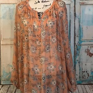 Lucky Sheer BoHo Peasant Top